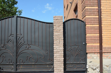 Metal gate and fence entrance door