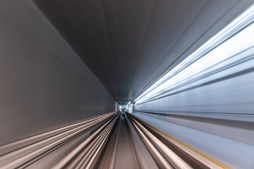 Fotomurales - Blurred Motion Travel in train on tunnel