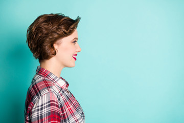 Profile side photo of positive cheerful girl look copyspace listen to her friend wear stylish...