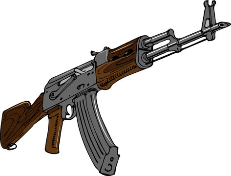 vector image of soviet assault rifle in art sketching style