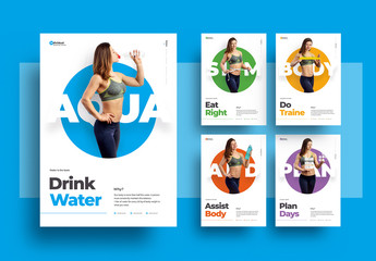 Healthy Lifestyle Poster Layout Set