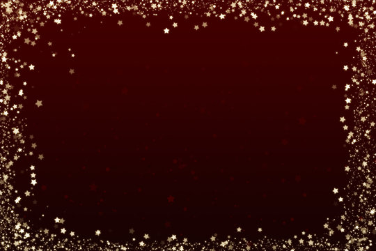 Illustrated Dark Red Christmas Background with Stars