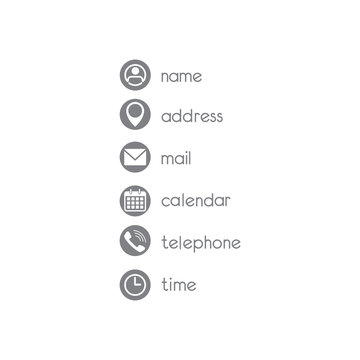 Contact icons set on white background