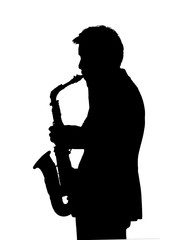 Graphic Silhouette Side View Man Playing Saxophone