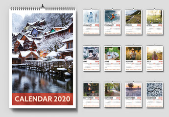 2020 Wall Calendar Layout with Red Accents