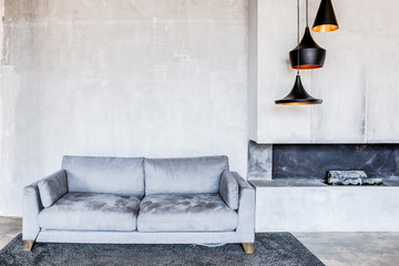 interior of living room with sofa and fireplace.  discreet stylish gray colors Fotomurales