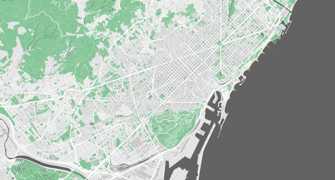 Detailed map of Barcelona, Spain