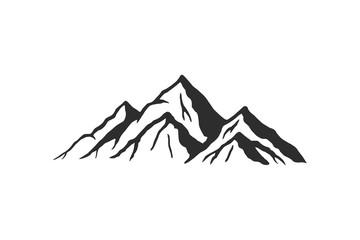 Mountain silhouette - vector icon. Rocky peaks. Mountains ranges. Black and white mountain icon Fotomurales
