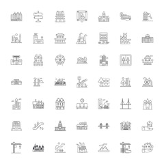 City line icons, signs, symbols vector, linear illustration set
