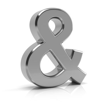 Ampersand symbol 3d render. Silver ampersand symbol isolated on white background.