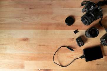 Photographic Equipment in a wood table