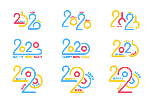 2020 New Year logo set. Winter holiday lettering typography logotypes for New Year 2020 celebration