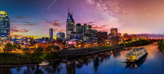 Fototapete - Nashville sunset with milky way galaxy