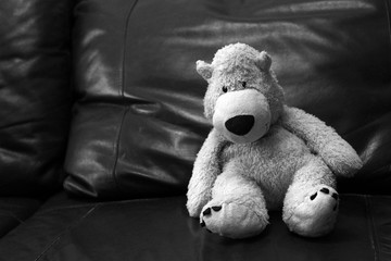 Soft toy bear, black and white image