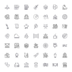 Entertainment industry line icons, signs, symbols vector, linear illustration set