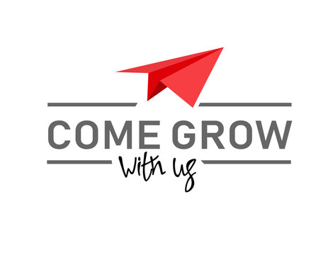 Come grow with us. Illustration and title for a recruitment ad. Recruitment, team building and personal growth concept. Paper plane, type and hand lettering