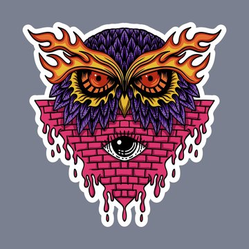 Owl head stickers vector illustration