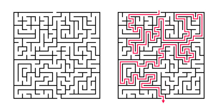 Vector Square Maze - Labyrinth with Included Solution in Balck & Red. Funny & Educational Mind Game for Coordination, Problems Solving, Decision Making Skills Test.