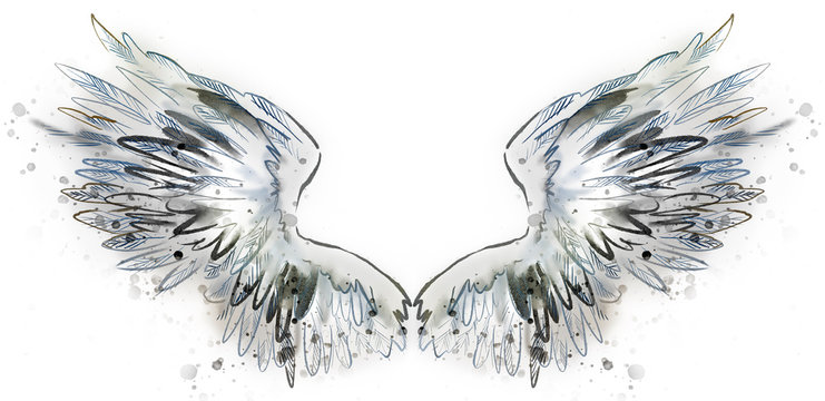 Beautiful white magic wings watercolor drawing
