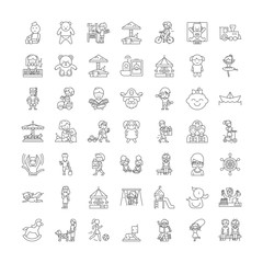Kids playing line icons, signs, symbols vector, linear illustration set