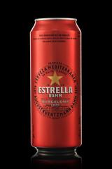MINSK, BELARUS - NOVEMBER 20, 2019: Estrella Damm beer in can on a black background. Estrella Damm is a pilsner beer, brewed in Barcelona