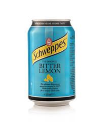 Minsk, Belarus - November 20, 2019: Aluminium can of the Schweppes Bitter Lemon isolated over white background