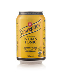 Minsk, Belarus - November 20, 2019: Aluminium can of the Schweppes Indian Tonic isolated over white background.