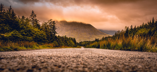 Road to Glen Brittle in the Isle of Skye, Scotland next to Glen brittle mountain in the Scottish Highlands.  Wall mural