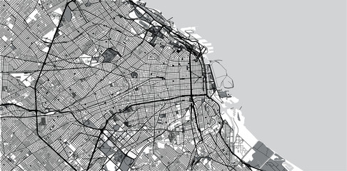 Urban vector city map of Buenos Aires, Argentina Papier Peint