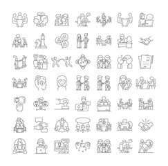 Business negotation line icons, signs, symbols vector, linear illustration set