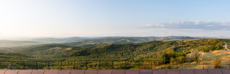 Panorama of green hills and Retezat mountains, Romania country