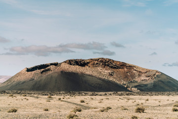 Full length view of the Volcano Cuervo in Lanzarote