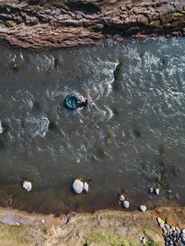 Aerial view of man in river