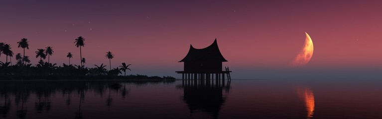 Fotobehang Aubergine Tropical landscape at night, a hut above the water, palm trees under the moon. 3d rendering.