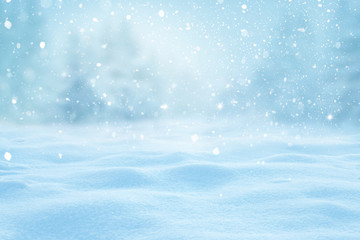 Wall Mural - Winter  background with snow and blurred bokeh.Merry Christmas and happy New Year greeting card with copy-space.