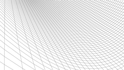 Vector perspective grid. Abstract wireframe landscape. Detailed lines on white background. 3d vector illustration. Fotobehang