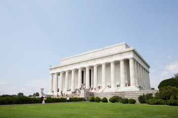 A tilt shift view of the Lincoln Memorial in Washington, DC