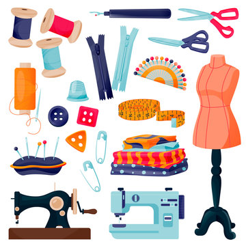 Sewing tools and tailor equipment. Craft and handmade sew needlework design elements. Vector flat cartoon illustration