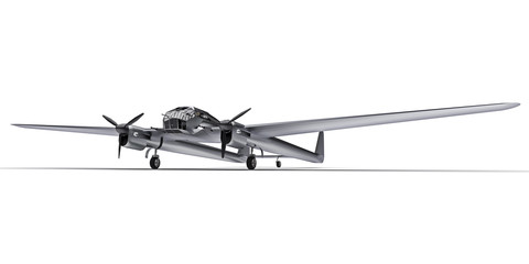 Foto op Canvas Helicopter Three-dimensional model of the bomber aircraft of the second world war. Shiny aluminum body with two tails and wide wings. Turboprop engine. Shiny gray airplane on a white background. 3d illustration.