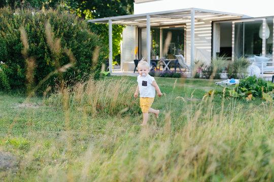 Toddler in garden