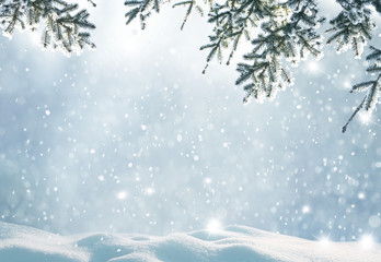 Merry christmas and happy new year greeting background with copy-space.Beautiful winter landscape...