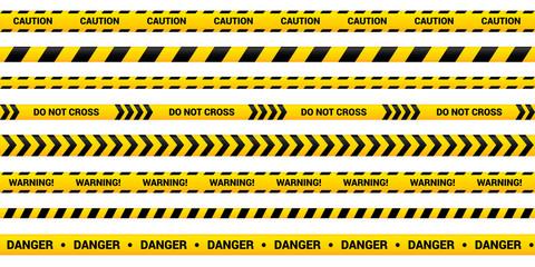 Caution tape set of yellow warning ribbons.