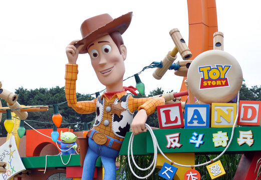HONG KONG - NOV 2015: TOY STORY attraction in Hong Kong Disney Land on November 2015 in China. Toy Story is a 1995 American computer-animated buddy comedy film produced by Pixar Animation Studios.