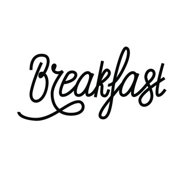Breakfast text, word, hand drawn lettering logo isolated on white background
