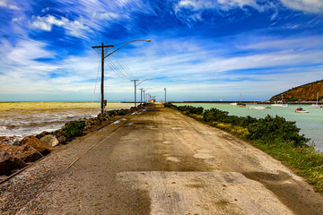 New Zealand, South Island. Oamaru, the largest town in North Otago. Harbour
