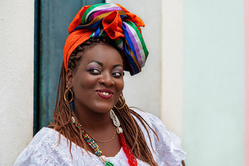 Salvador da Bahia, Brazil, Happy Brazilian Woman of African Descent Dressed in Traditional Baiana Costumes