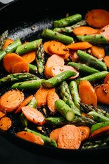 Stir fried carrots and asparagus