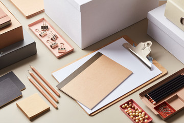 Contemporary office supplies on desk
