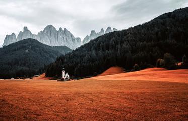 The little church St. Johann in Ranui, South Tyrol.