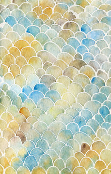 Fish scale watercolor texture in warm pastel colors